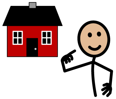 Image of my house with a picture of a cartoon house and stick figure pointing to themselves
