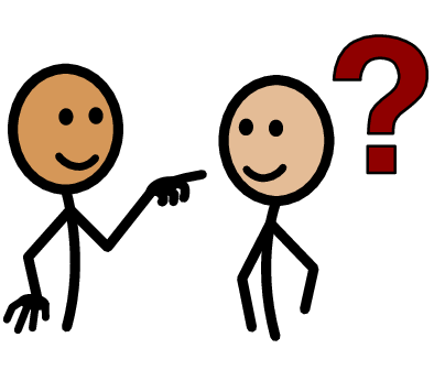 image of a person pointing to another with a question mark