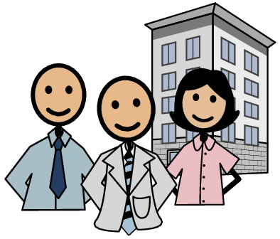 Image of happy workers in front of a multi level building.