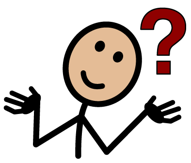 Image of stick figure person hands raised and question mark