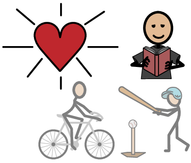 Image of heart and someone reading, riding a bicycle and holding a bat.