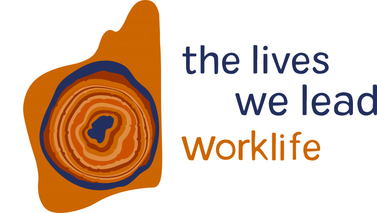 Logo of Orange image of WA state surrounding a geode like shape that is orange, red and deep blue. Words next to it saying the lives we lead worklife.