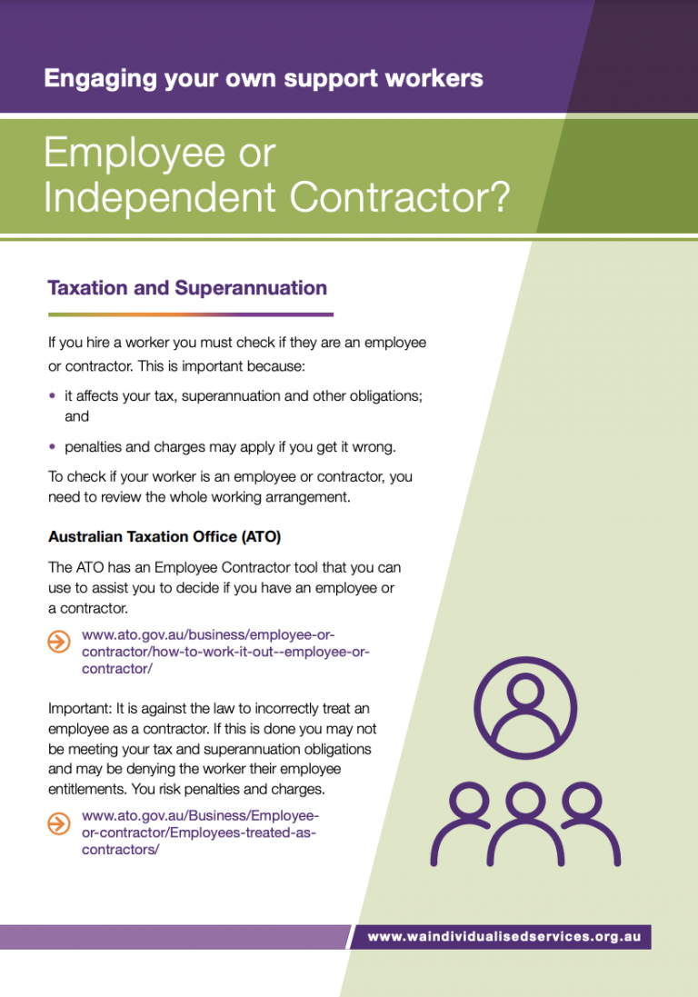 First page of WAiS designed resource called 'Employee or Independent Contractor?'