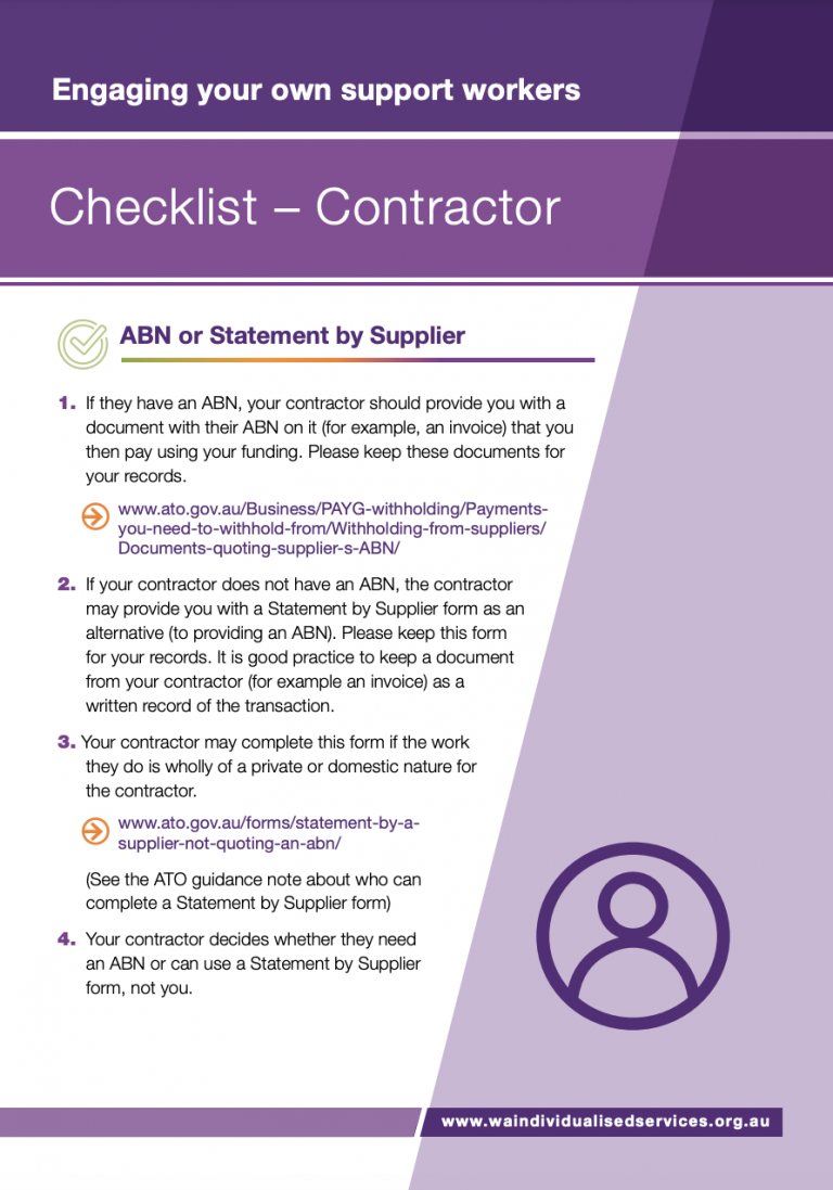 First page of WAiS designed resource called 'Contractor Checklist'