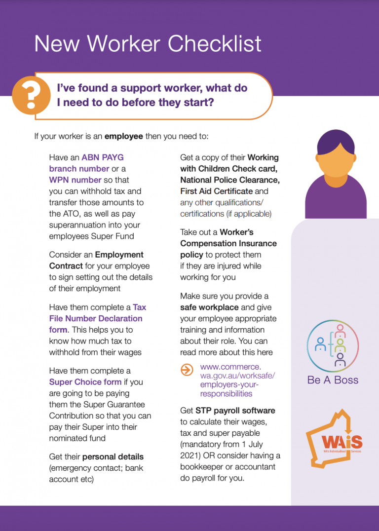 First page of WAiS designed resource called 'New Worker Checklist'