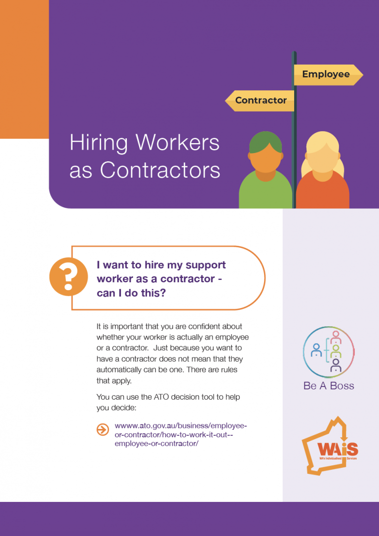 First page of WAiS designed resource called 'Hiring Workers as Contractors'