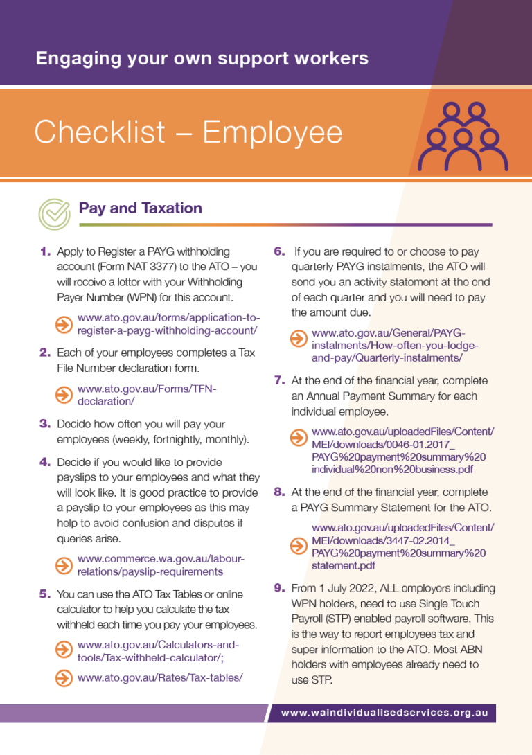 First page of WAiS designed resource called 'Employee Checklist'